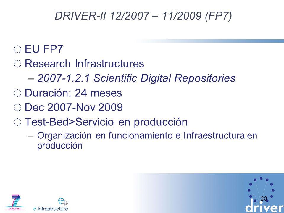 DRIVER-II 12/2007 – 11/2009 (FP7) EU FP7 Research Infrastructures –2007-1.2.1 Scientific Digital Repositories Duración: 24 meses Dec 2007-Nov 2009 Test-Bed>Servicio en producción –Organización en funcionamiento e Infraestructura en producción 20