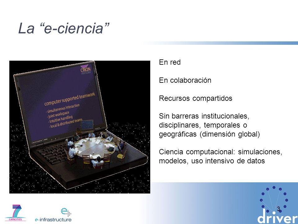 La e-ciencia 3 En red En colaboración Recursos compartidos Sin barreras institucionales, disciplinares, temporales o geográficas (dimensión global) Ciencia computacional: simulaciones, modelos, uso intensivo de datos