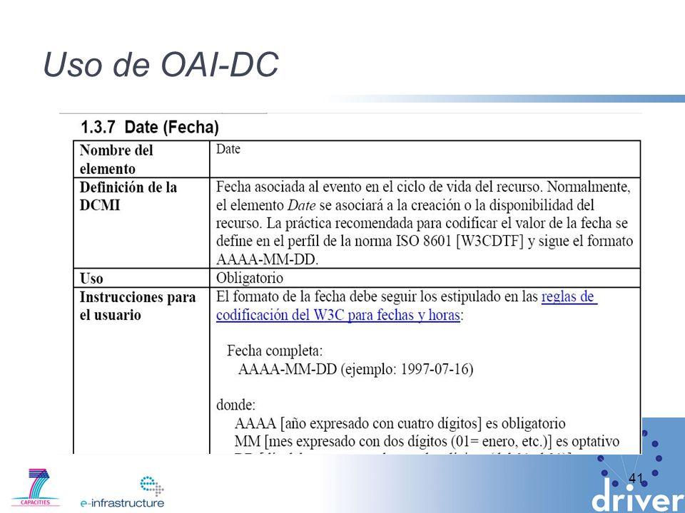 Uso de OAI-DC 41