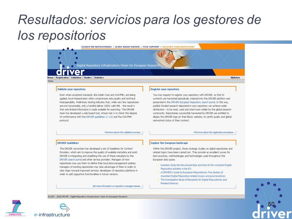 Resultados: servicios para los gestores de los repositorios 50