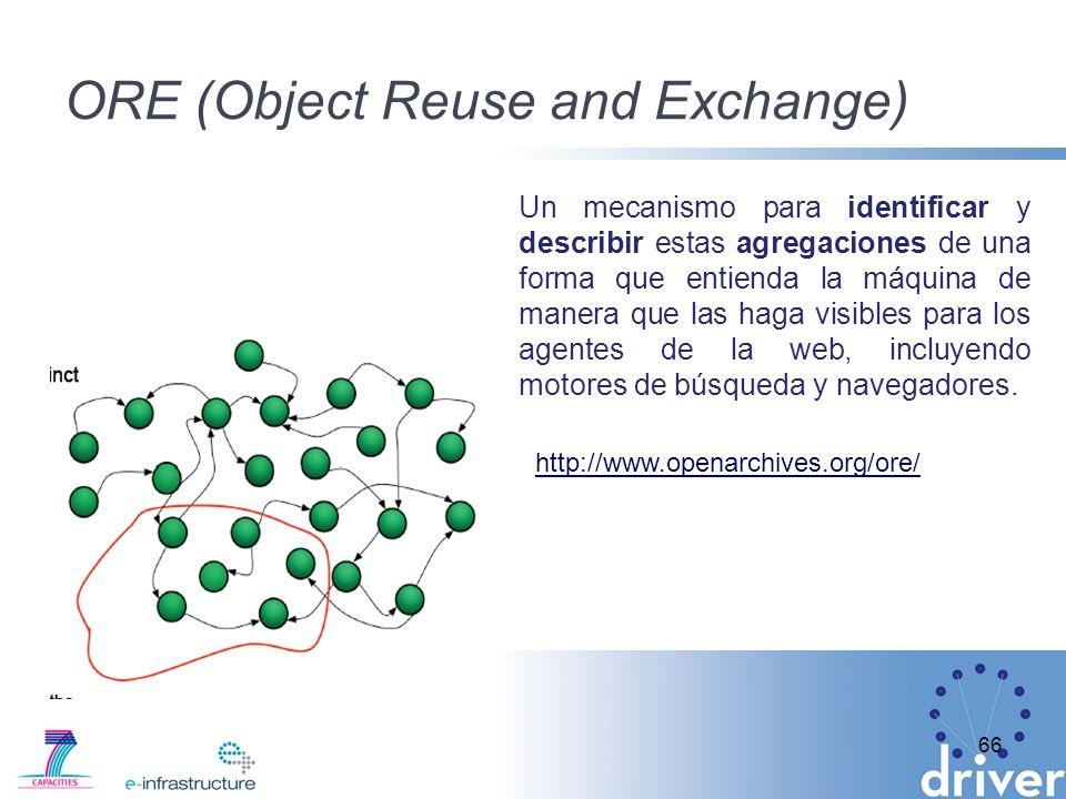 ORE (Object Reuse and Exchange) 66 Un mecanismo para identificar y describir estas agregaciones de una forma que entienda la máquina de manera que las haga visibles para los agentes de la web, incluyendo motores de búsqueda y navegadores.