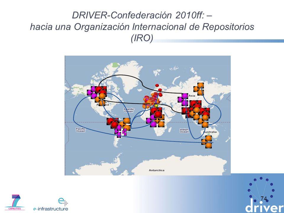 DRIVER-Confederación 2010ff: – hacia una Organización Internacional de Repositorios (IRO) 74