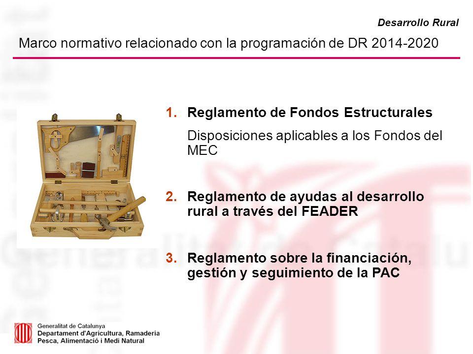 Marco normativo relacionado con la programación de DR 2014-2020 Reglamento de Fondos Estructurales Disposiciones aplicables a los Fondos del MEC Regla
