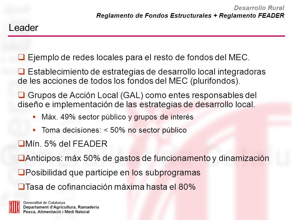 Leader Ejemplo de redes locales para el resto de fondos del MEC. Establecimiento de estrategias de desarrollo local integradoras de les acciones de to