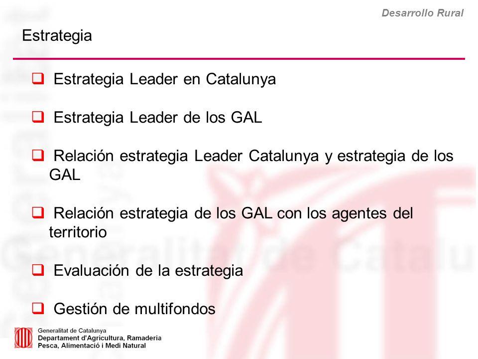 Desarrollo Rural Estrategia Leader en Catalunya Estrategia Leader de los GAL Relación estrategia Leader Catalunya y estrategia de los GAL Relación est