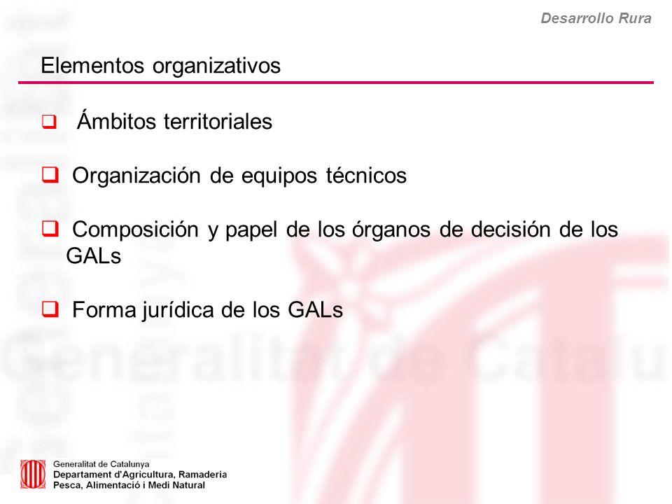 Desarrollo Rura Elementos organizativos Ámbitos territoriales Organización de equipos técnicos Composición y papel de los órganos de decisión de los G