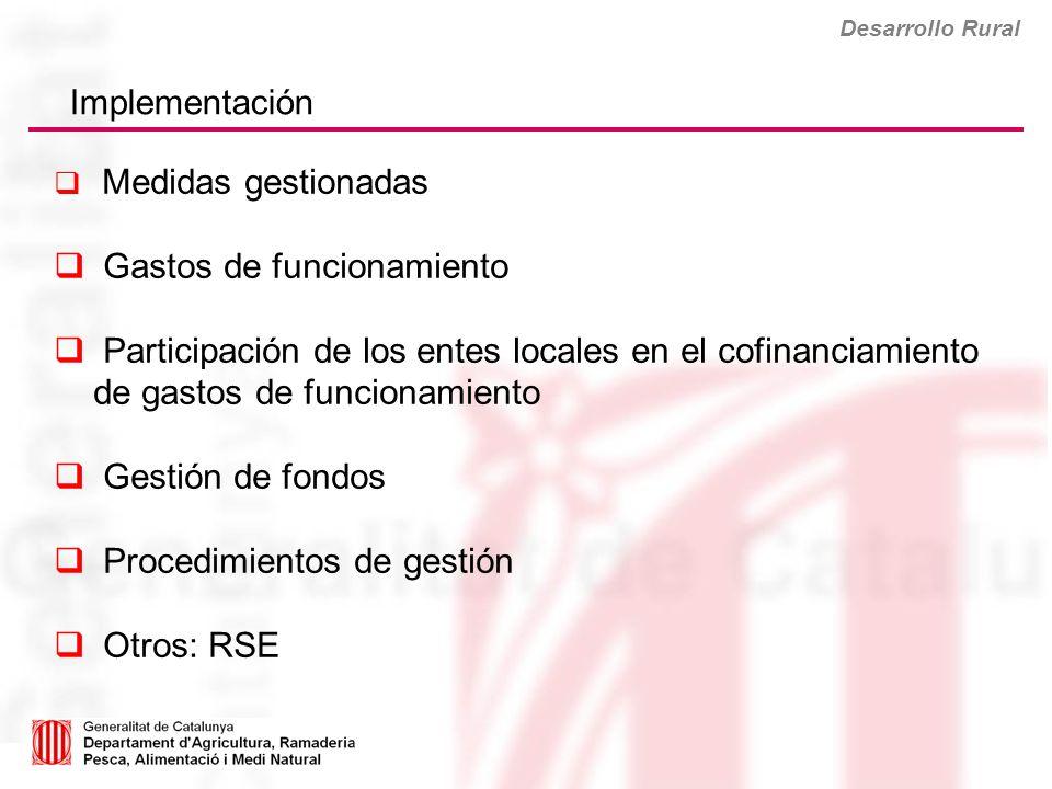 Desarrollo Rural Implementación Medidas gestionadas Gastos de funcionamiento Participación de los entes locales en el cofinanciamiento de gastos de fu