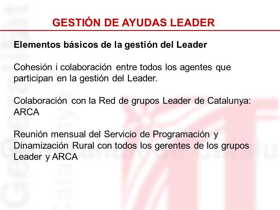 Elementos básicos de la gestión del Leader Cohesión i colaboración entre todos los agentes que participan en la gestión del Leader. Colaboración con l
