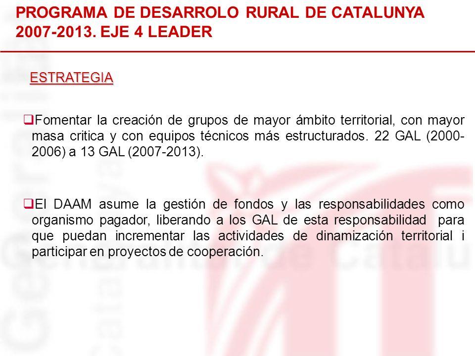 PROGRAMA DE DESARROLO RURAL DE CATALUNYA 2007-2013. EJE 4 LEADER Fomentar la creación de grupos de mayor ámbito territorial, con mayor masa critica y