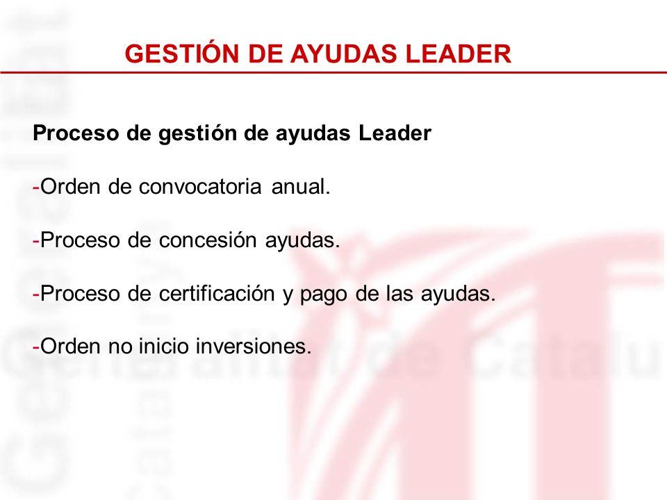 Proceso de gestión de ayudas Leader -Orden de convocatoria anual. -Proceso de concesión ayudas. -Proceso de certificación y pago de las ayudas. -Orden