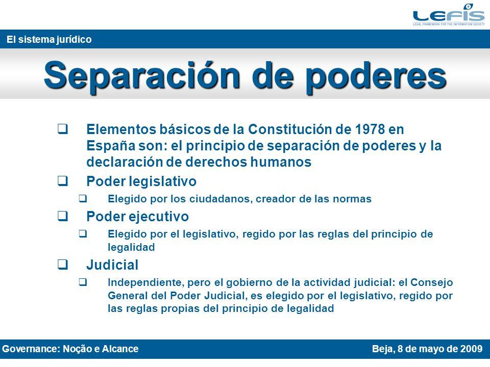 Elementos básicos de la Constitución de 1978 en España son: el principio de separación de poderes y la declaración de derechos humanos Poder legislativo Elegido por los ciudadanos, creador de las normas Poder ejecutivo Elegido por el legislativo, regido por las reglas del principio de legalidad Judicial Independiente, pero el gobierno de la actividad judicial: el Consejo General del Poder Judicial, es elegido por el legislativo, regido por las reglas propias del principio de legalidad THE LEGAL SYSTEM AND JURISPRUDENCE Rovaniemi 27th April 2009 El sistema jurídico Separación de poderes Governance: Noção e AlcanceBeja, 8 de mayo de 2009