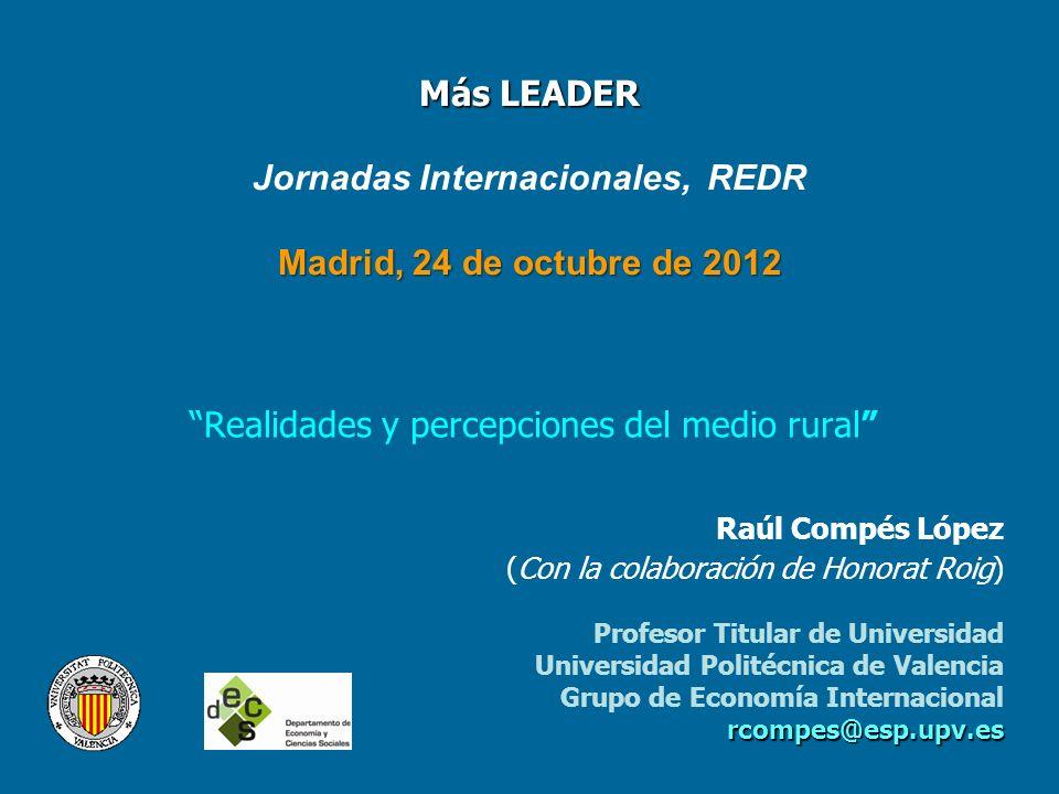 Más LEADER Madrid, 24 de octubre de 2012 Más LEADER Jornadas Internacionales, REDR Madrid, 24 de octubre de 2012 Realidades y percepciones del medio r