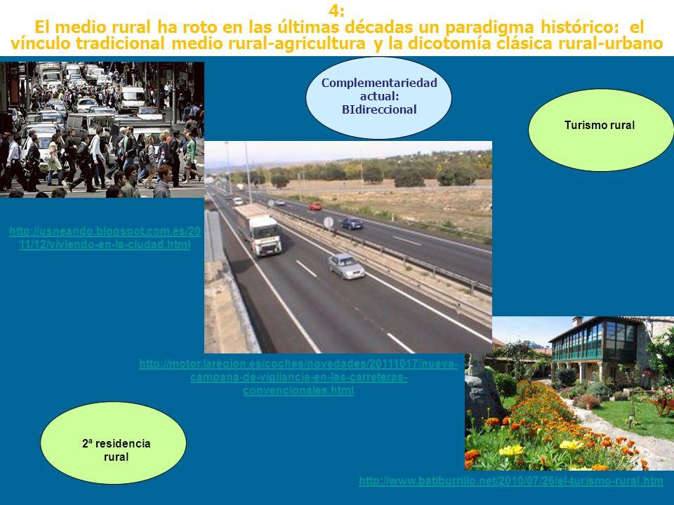 4: El medio rural ha roto en las últimas décadas un paradigma histórico: el vínculo tradicional medio rural-agricultura y la dicotomía clásica rural-u