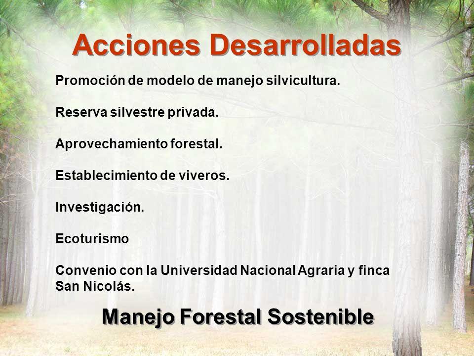 Acciones Desarrolladas Manejo Forestal Sostenible Promoción de modelo de manejo silvicultura. Reserva silvestre privada. Aprovechamiento forestal. Est