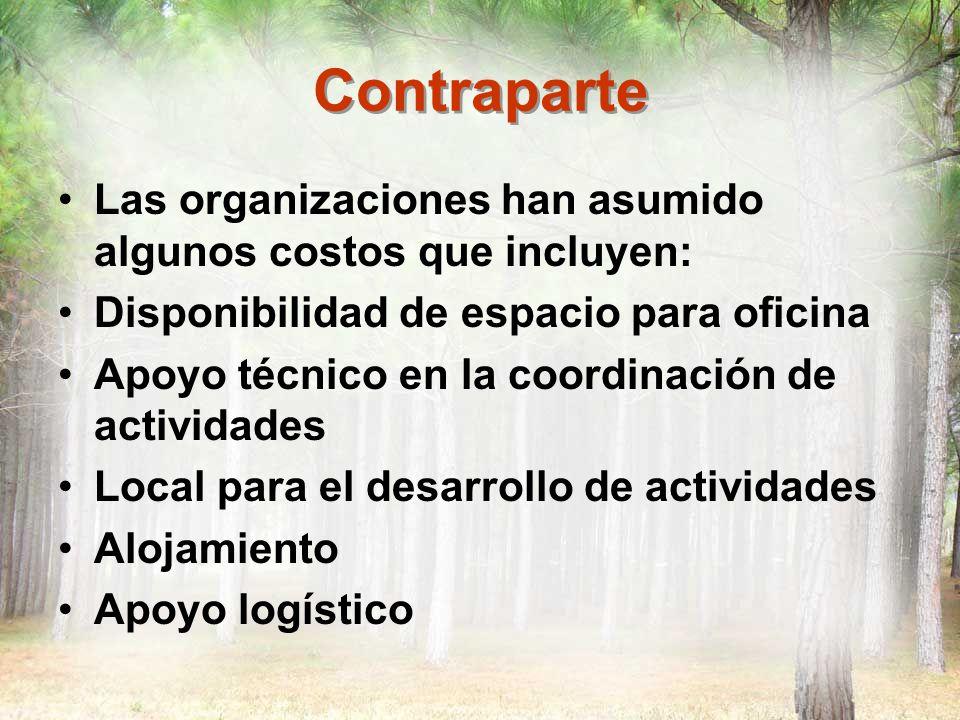 Contraparte Las organizaciones han asumido algunos costos que incluyen: Disponibilidad de espacio para oficina Apoyo técnico en la coordinación de act