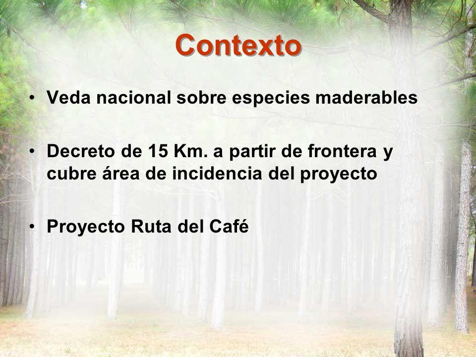 Contexto Veda nacional sobre especies maderables Decreto de 15 Km. a partir de frontera y cubre área de incidencia del proyecto Proyecto Ruta del Café