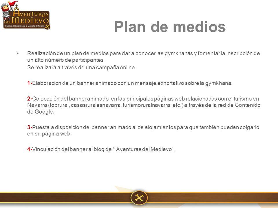 Realización de un plan de medios para dar a conocer las gymkhanas y fomentar la inscripción de un alto número de participantes.