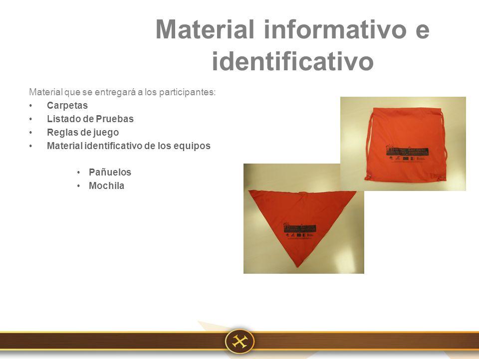 Material informativo e identificativo Material que se entregará a los participantes: Carpetas Listado de Pruebas Reglas de juego Material identificativo de los equipos Pañuelos Mochila
