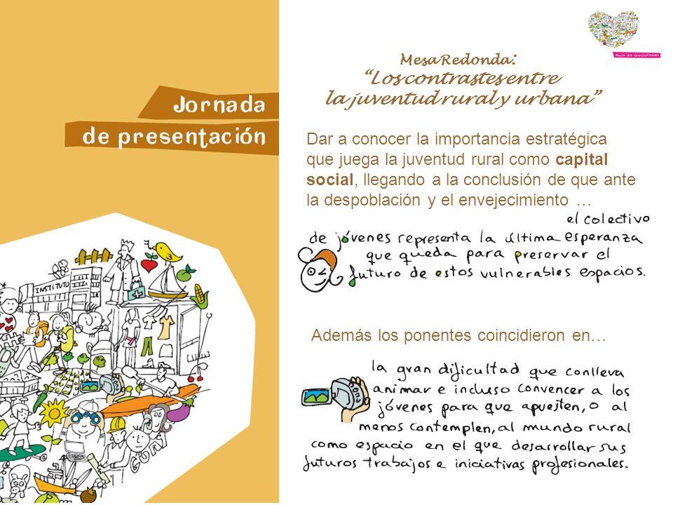 Mesa Redonda : Los contrastes entre la juventud rural y urbana Dar a conocer la importancia estratégica que juega la juventud rural como capital social, llegando a la conclusión de que ante la despoblación y el envejecimiento … Además los ponentes coincidieron en…