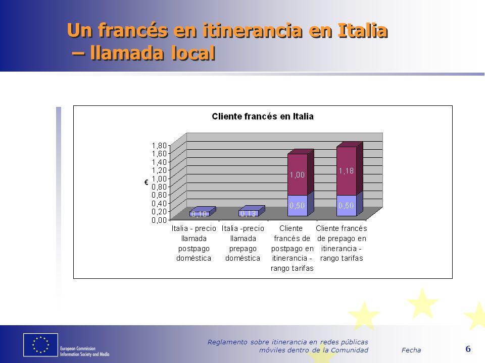 Fecha Reglamento sobre itinerancia en redes públicas móviles dentro de la Comunidad 6 Un francés en itinerancia en Italia – llamada local