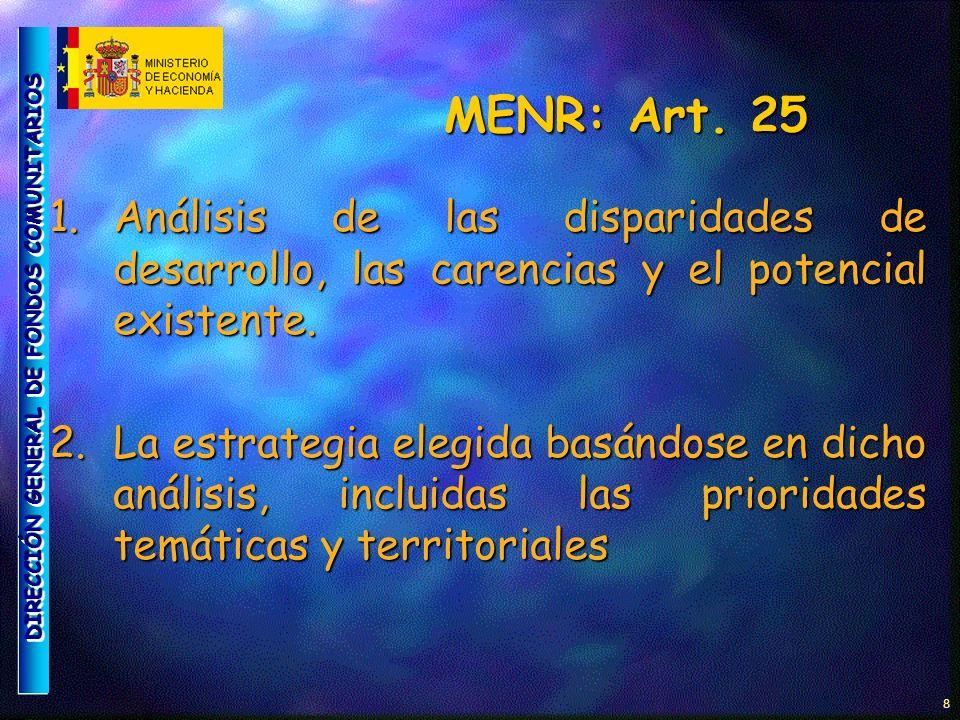 DIRECCIÓN GENERAL DE FONDOS COMUNITARIOS 9 MENR: Art.