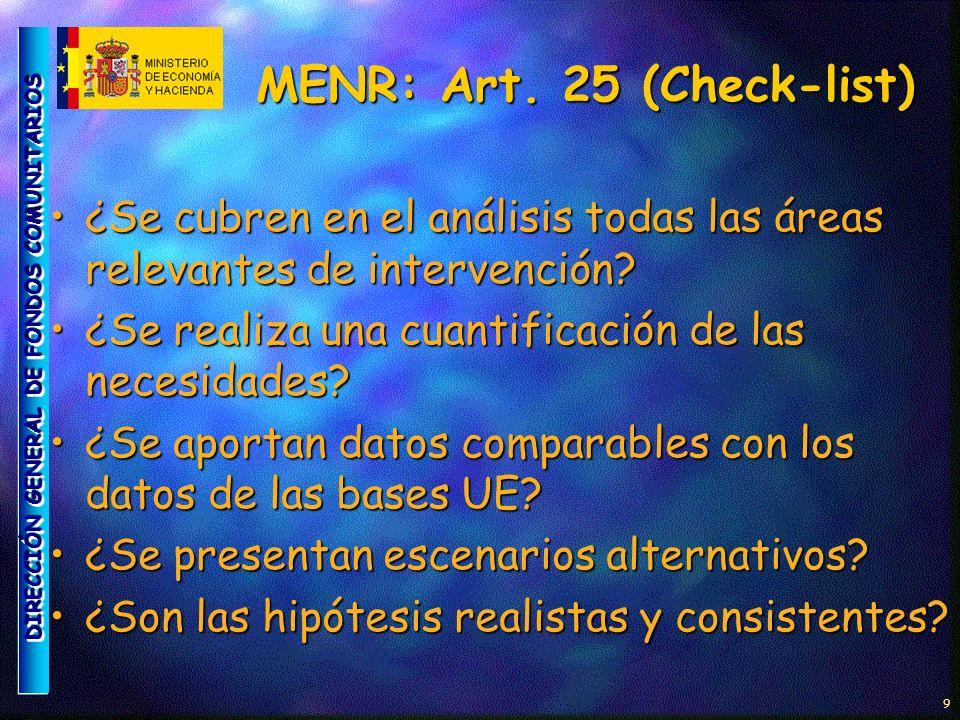 DIRECCIÓN GENERAL DE FONDOS COMUNITARIOS 10 MENR: Art.