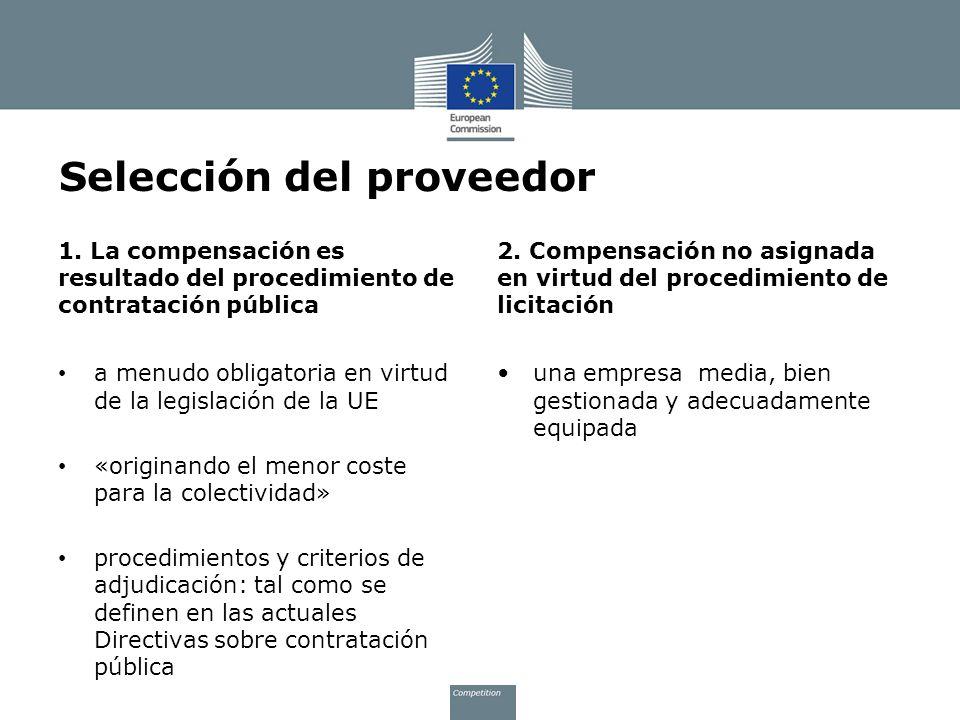 Selección del proveedor 1. La compensación es resultado del procedimiento de contratación pública a menudo obligatoria en virtud de la legislación de