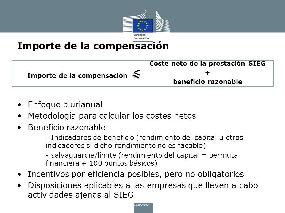 Importe de la compensación Coste neto de la prestación SIEG + beneficio razonable Enfoque plurianual Metodología para calcular los costes netos Benefi
