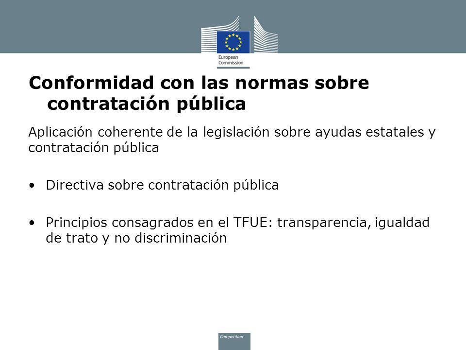 Conformidad con las normas sobre contratación pública Aplicación coherente de la legislación sobre ayudas estatales y contratación pública Directiva s
