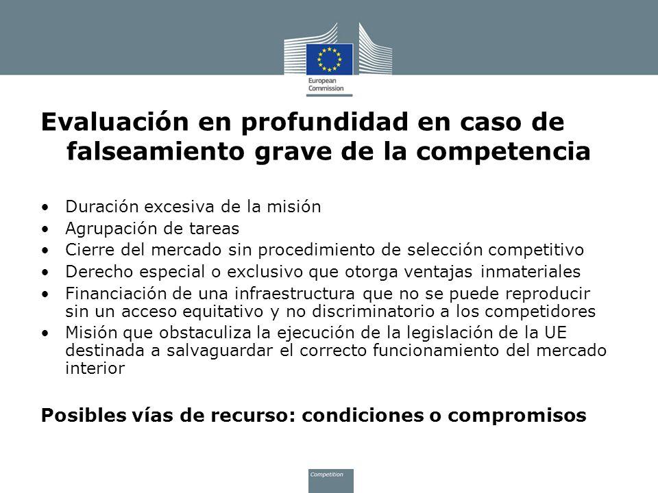 Evaluación en profundidad en caso de falseamiento grave de la competencia Duración excesiva de la misión Agrupación de tareas Cierre del mercado sin p