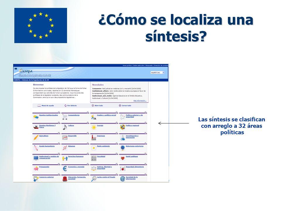 ¿Cómo se localiza una síntesis? Las síntesis se clasifican con arreglo a 32 áreas políticas