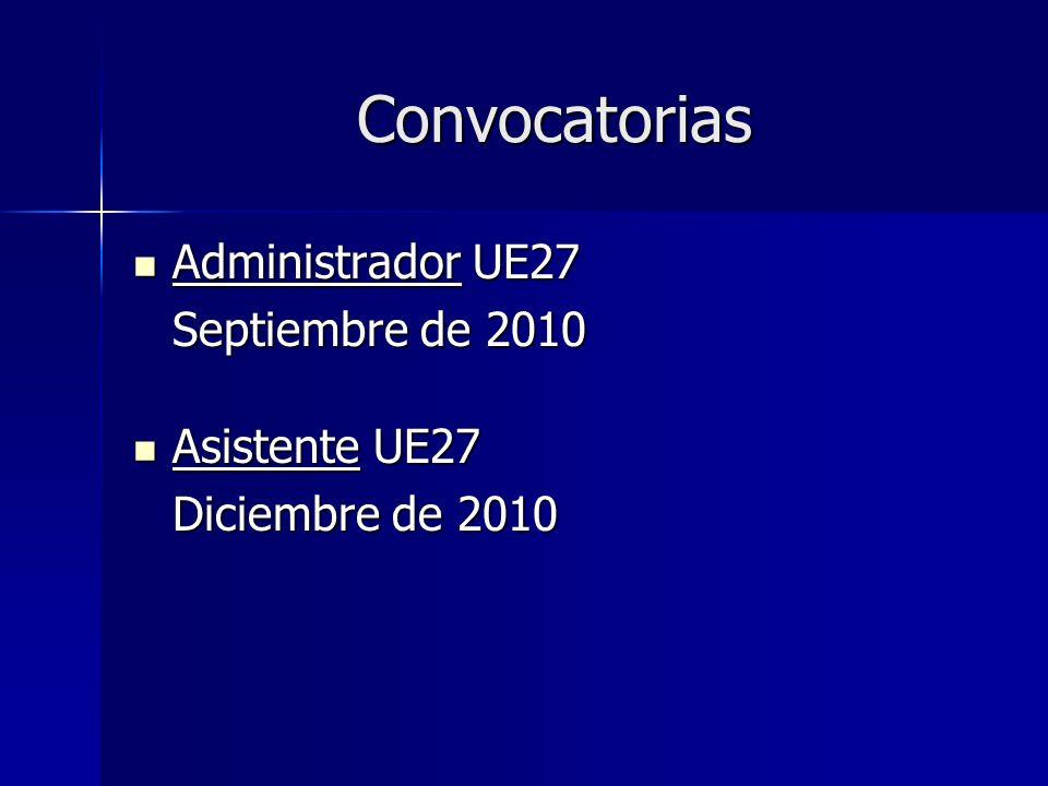 Convocatorias Administrador UE27 Administrador UE27 Septiembre de 2010 Asistente UE27 Asistente UE27 Diciembre de 2010