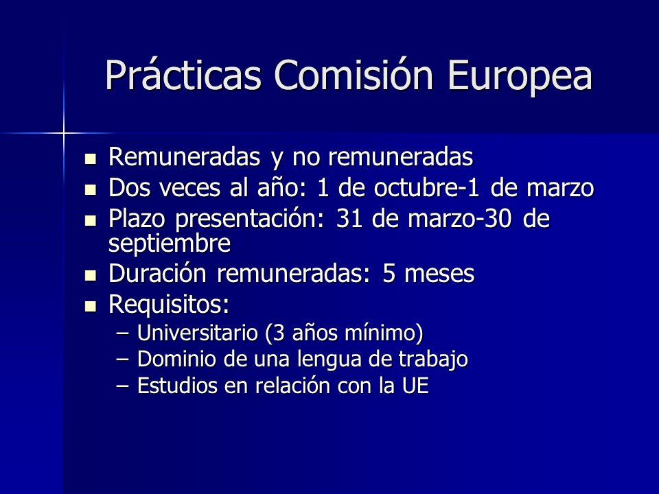 Prácticas Comisión Europea Remuneradas y no remuneradas Remuneradas y no remuneradas Dos veces al año: 1 de octubre-1 de marzo Dos veces al año: 1 de octubre-1 de marzo Plazo presentación: 31 de marzo-30 de septiembre Plazo presentación: 31 de marzo-30 de septiembre Duración remuneradas: 5 meses Duración remuneradas: 5 meses Requisitos: Requisitos: –Universitario (3 años mínimo) –Dominio de una lengua de trabajo –Estudios en relación con la UE