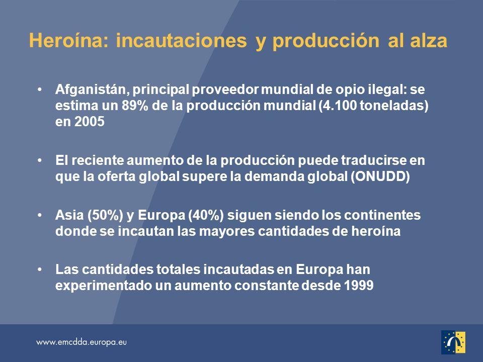 Heroína: incautaciones y producción al alza Afganistán, principal proveedor mundial de opio ilegal: se estima un 89% de la producción mundial (4.100 t