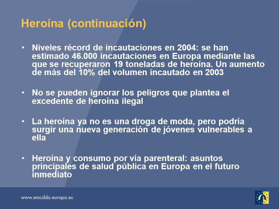 Heroína (continuación) Niveles récord de incautaciones en 2004: se han estimado 46.000 incautaciones en Europa mediante las que se recuperaron 19 toneladas de heroína.
