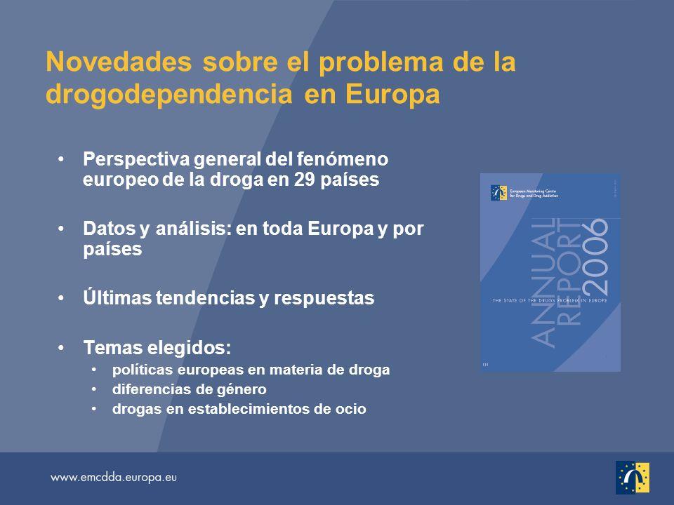 Novedades sobre el problema de la drogodependencia en Europa Perspectiva general del fenómeno europeo de la droga en 29 países Datos y análisis: en to