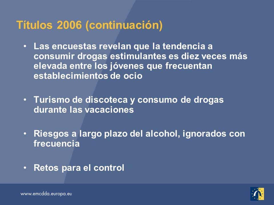 Títulos 2006 (continuación) Las encuestas revelan que la tendencia a consumir drogas estimulantes es diez veces más elevada entre los jóvenes que frecuentan establecimientos de ocio Turismo de discoteca y consumo de drogas durante las vacaciones Riesgos a largo plazo del alcohol, ignorados con frecuencia Retos para el control