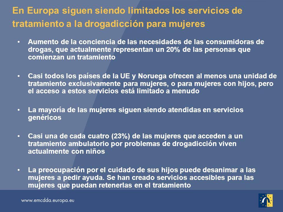 En Europa siguen siendo limitados los servicios de tratamiento a la drogadicción para mujeres Aumento de la conciencia de las necesidades de las consu