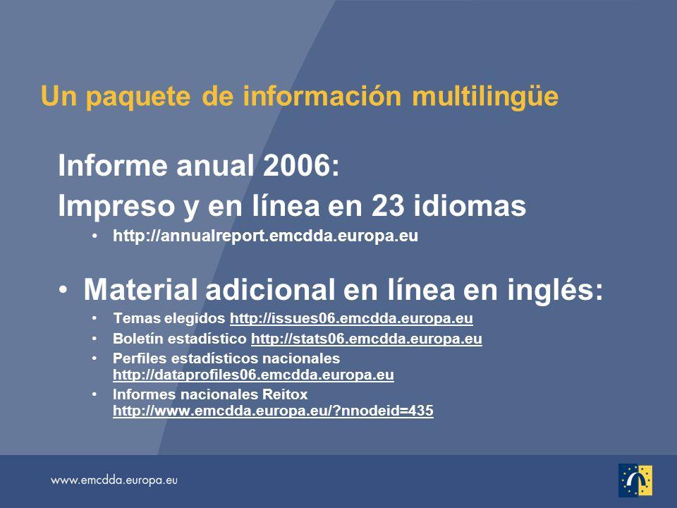 Un paquete de información multilingüe Informe anual 2006: Impreso y en línea en 23 idiomas http://annualreport.emcdda.europa.eu Material adicional en línea en inglés: Temas elegidos http://issues06.emcdda.europa.eu Boletín estadístico http://stats06.emcdda.europa.eu Perfiles estadísticos nacionales http://dataprofiles06.emcdda.europa.eu Informes nacionales Reitox http://www.emcdda.europa.eu/ nnodeid=435