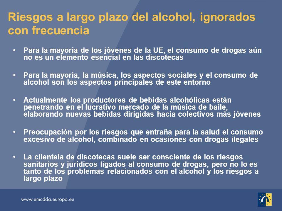 Riesgos a largo plazo del alcohol, ignorados con frecuencia Para la mayoría de los jóvenes de la UE, el consumo de drogas aún no es un elemento esenci