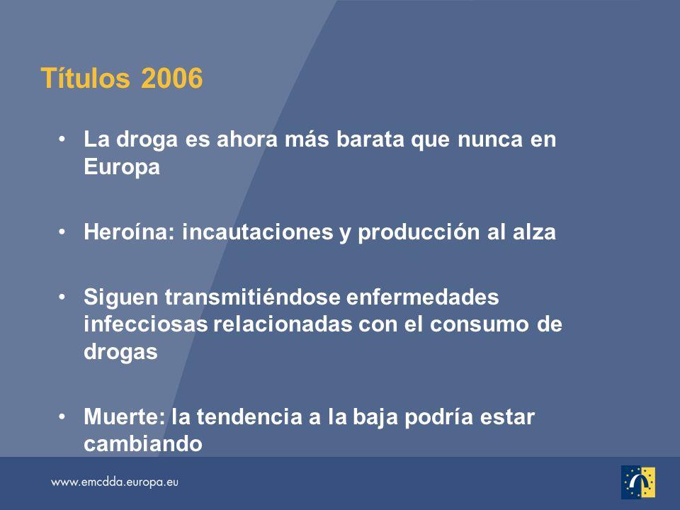 Títulos 2006 La droga es ahora más barata que nunca en Europa Heroína: incautaciones y producción al alza Siguen transmitiéndose enfermedades infecciosas relacionadas con el consumo de drogas Muerte: la tendencia a la baja podría estar cambiando