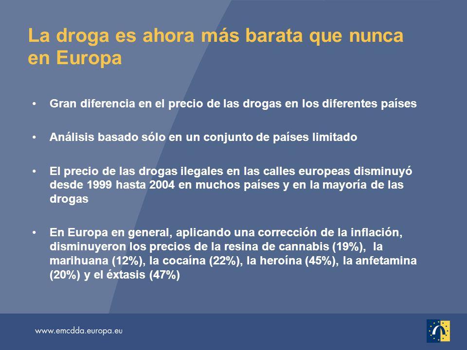 La droga es ahora más barata que nunca en Europa Gran diferencia en el precio de las drogas en los diferentes países Análisis basado sólo en un conjun