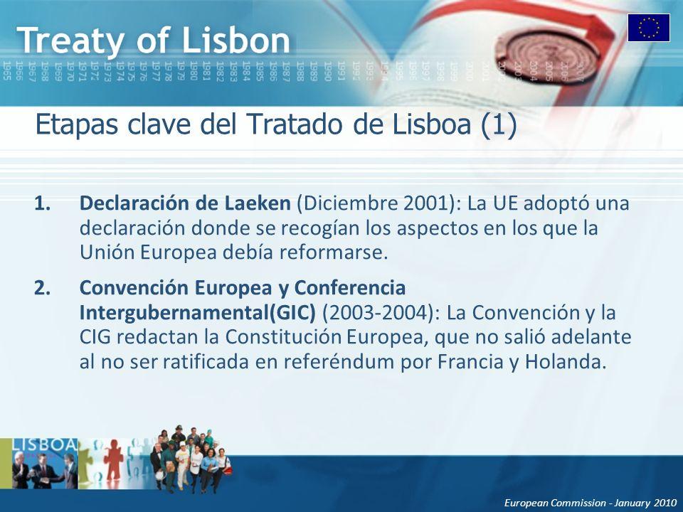 European Commission - January 2010 Etapas clave del Tratado de Lisboa (1) 1.Declaración de Laeken (Diciembre 2001): La UE adoptó una declaración donde se recogían los aspectos en los que la Unión Europea debía reformarse.