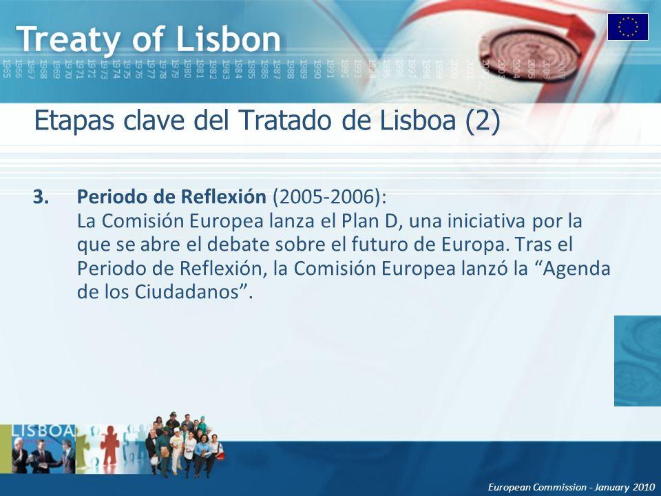 European Commission - January 2010 Etapas clave del Tratado de Lisboa (2) 3.Periodo de Reflexión (2005-2006): La Comisión Europea lanza el Plan D, una iniciativa por la que se abre el debate sobre el futuro de Europa.