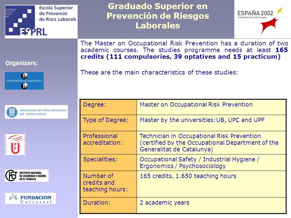 Graduado Superior en Prevención de Riesgos Laborales The Master on Occupational Risk Prevention has a duration of two academic courses. The studies pr