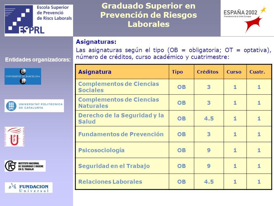 Graduado Superior en Prevención de Riesgos Laborales Asignaturas: Las asignaturas según el tipo (OB = obligatoria; OT = optativa), número de créditos,