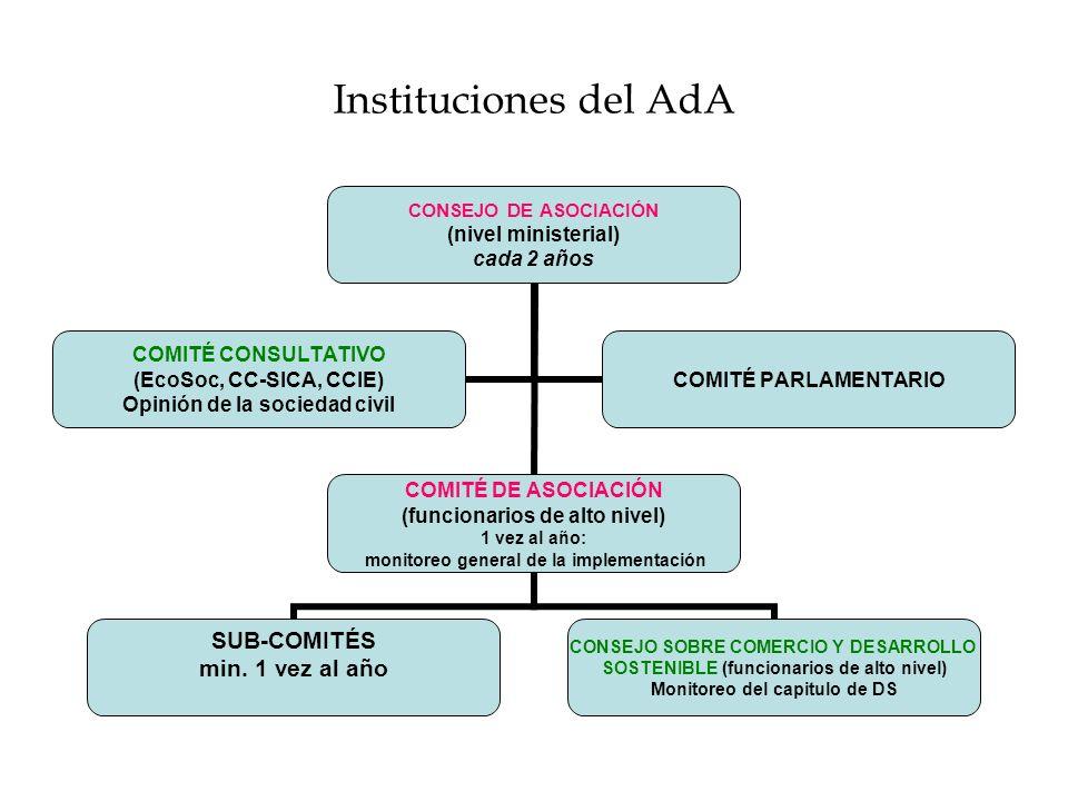 Instituciones del AdA CONSEJO DE ASOCIACIÓN (nivel ministerial) cada 2 años COMITÉ DE ASOCIACIÓN (funcionarios de alto nivel) 1 vez al año: monitoreo