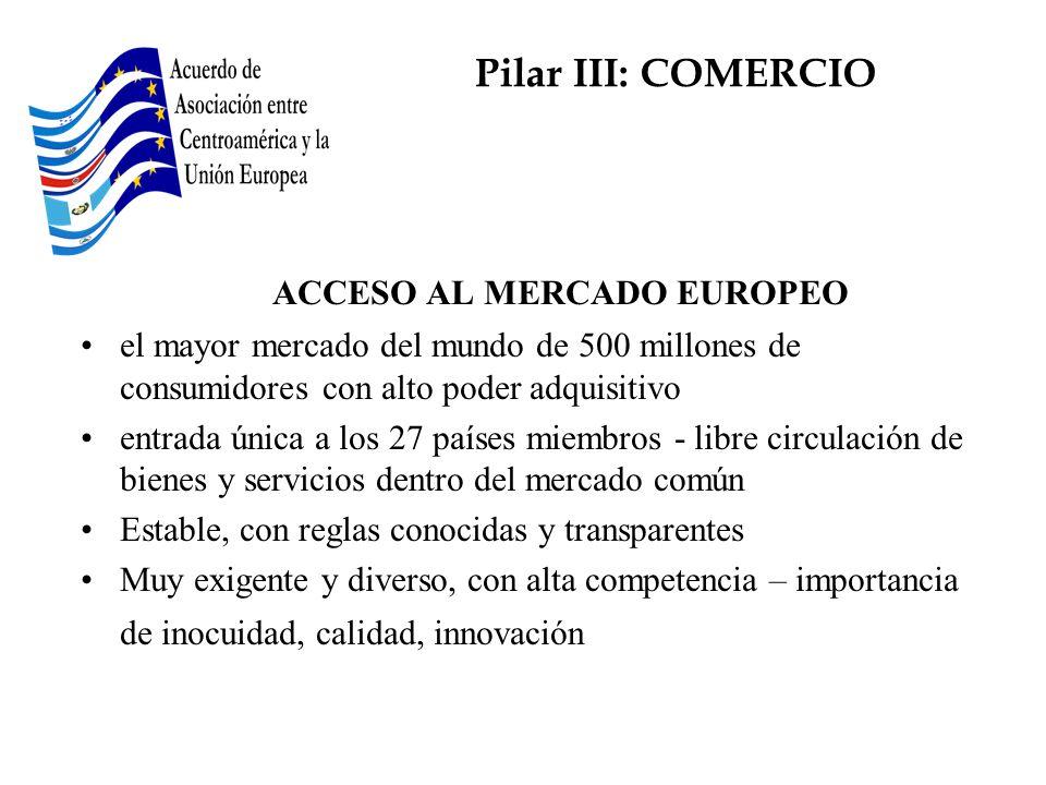 ACCESO AL MERCADO EUROPEO el mayor mercado del mundo de 500 millones de consumidores con alto poder adquisitivo entrada única a los 27 países miembros