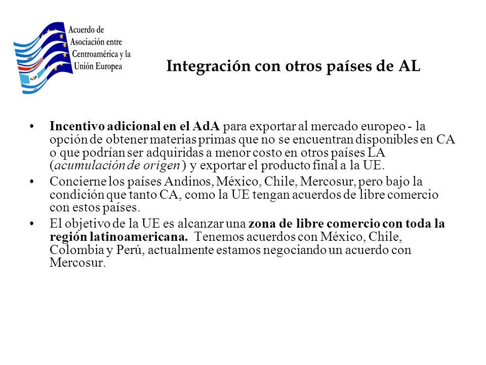 Integración con otros países de AL Incentivo adicional en el AdA para exportar al mercado europeo - la opción de obtener materias primas que no se enc