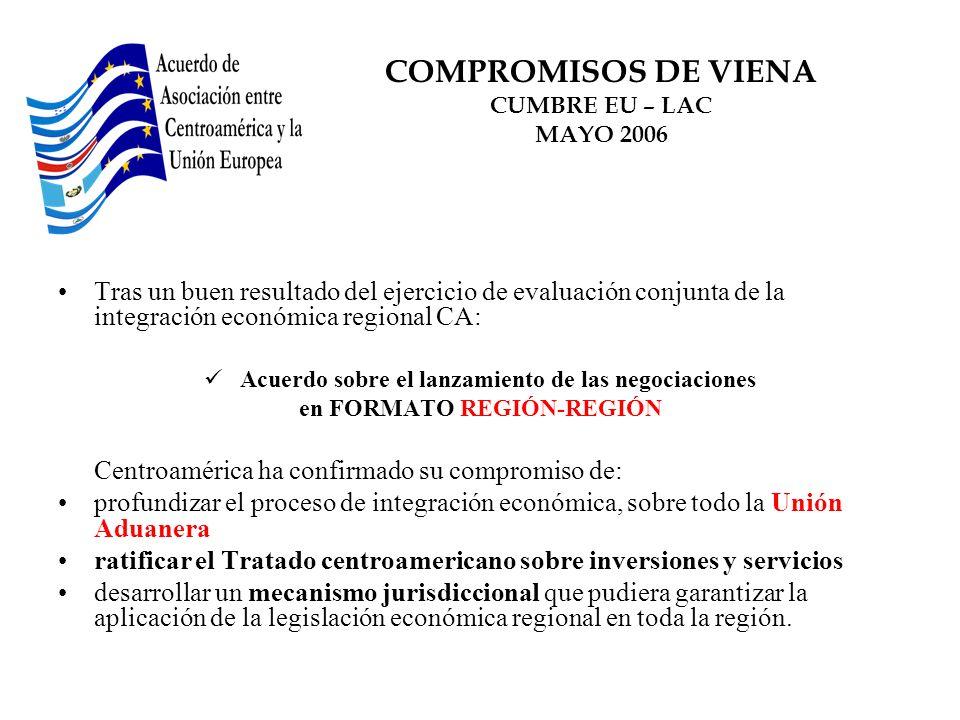 COMPROMISOS DE VIENA CUMBRE EU – LAC MAYO 2006 Tras un buen resultado del ejercicio de evaluación conjunta de la integración económica regional CA: Ac